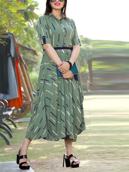 Buy Stylish Green and Blue Rayon Kurti Online in India- YOYO Fashion