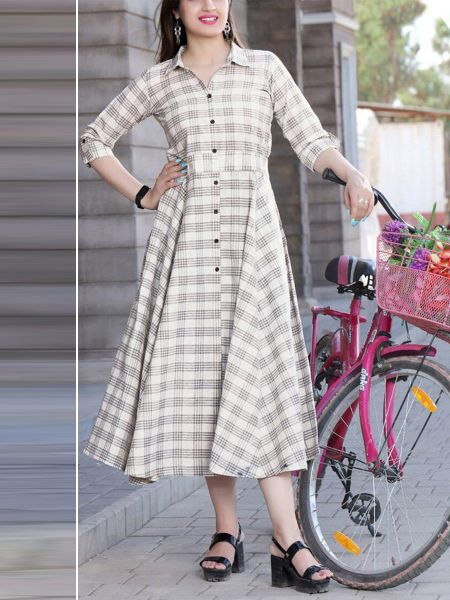 Buy Stylish White Rayon Kurti Online in India - YOYO Fashion