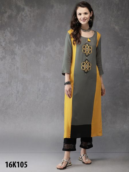 Buy Green and Yellow Rayon Kurti Online- YOYO Fashion