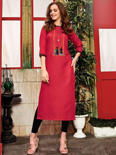 Purchase Simple Plain Red Color Cotton Kurti for Girls Online @ YOYO Fashion