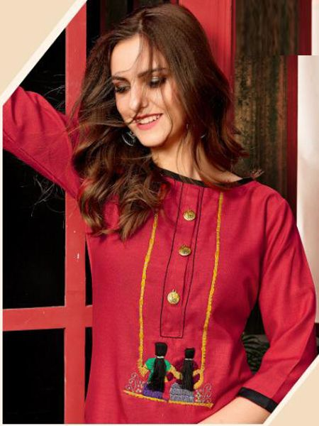 Simple Plain Red Color Cotton Kurti for Girls