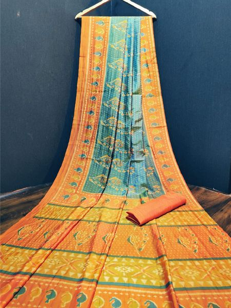 Orange and Blue Cotton Silk Saree