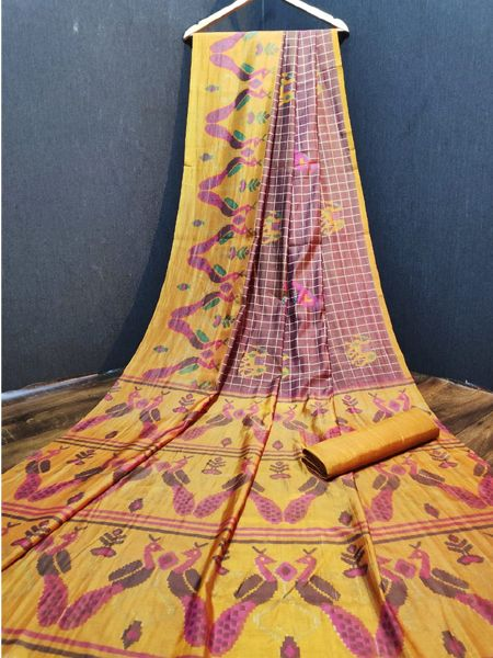 Yellow and Purple Cotton Silk Saree