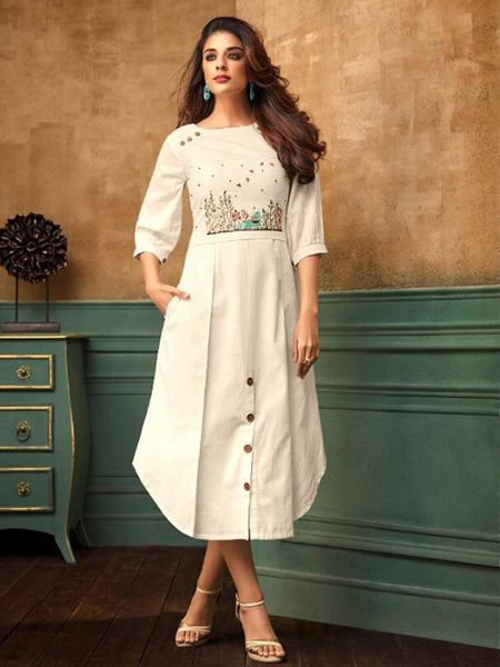 Buy Stylish Off White Cotton Kurti Online in India- YOYO Fashion
