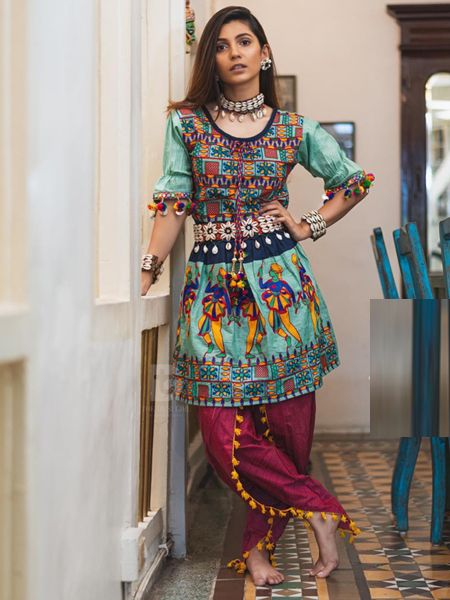 Buy Green and Red Kedia With Tulip Pants Online in India- YOYO Fashion