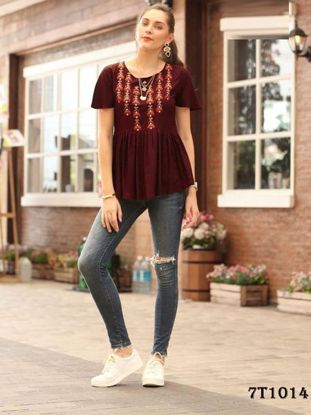 Buy Designer Maroon Solid Top Online in India- YOYO Fashion