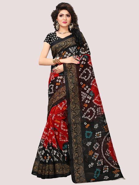 Black and Red Bandhani Print Bhagalpuri Saree