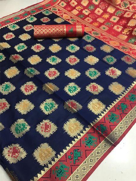 Latest Blue Patola Silk Saree