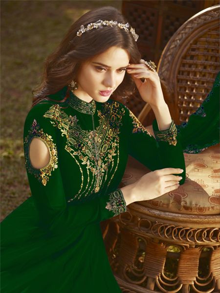 Latest Designer Green Pakistani Anarkali Salwar Suit