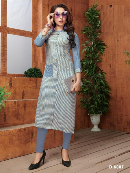 Stylish Sky Blue Khadi Cotton Kurti