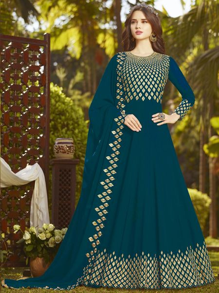 Buy Designer Turquoise Anarkali Suit Online in India- YOYO Fashion