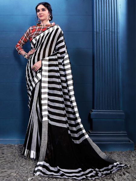 Designer Black and White Linen Saree