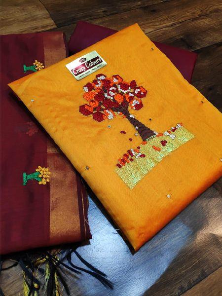 Designer Yellow Silk Dress Material
