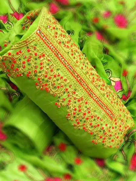 Designer Parrot Green Dress Material