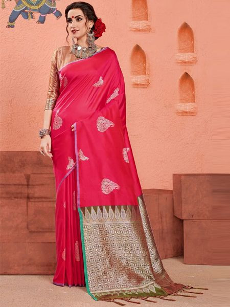 Designer Pink Art Silk Saree
