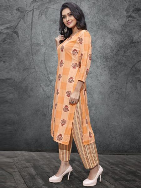 Designer Orange Kurti with Palazzo