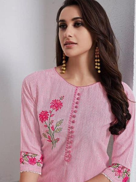 Long Pink Cotton Kurti with Palazzo