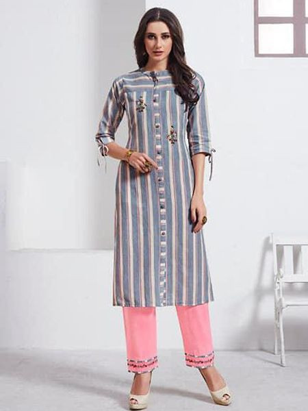 Long Grey Cotton Kurti with Palazzo