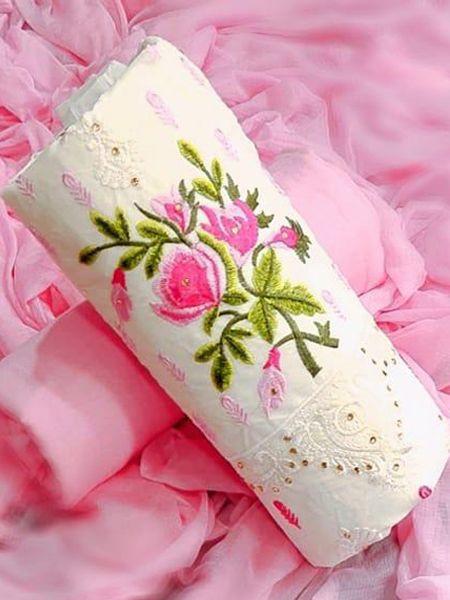 Designer Pink Cotton Dress Material
