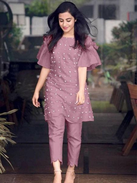 Purchase Designer Purple Short Kurti with Cigarette Pants Design for Girls Online @ YOYO Fashion