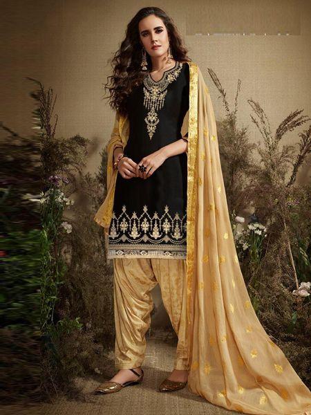 Latest Black Cotton Patiala Suit