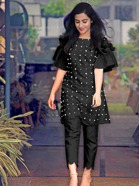 Buy Designer Black Short Kurti with Cigarette Pants Online for Girls From YOYO Fashion