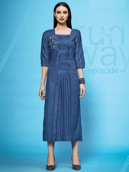 Designer Blue Cotton Kurti