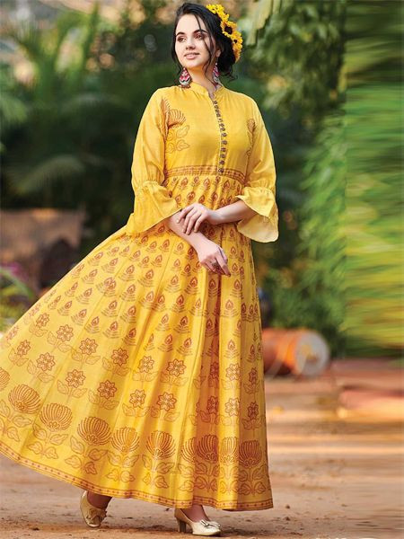 Designer Yellow Cotton Gown