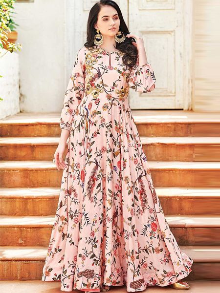 Designer Peach Cotton Gown