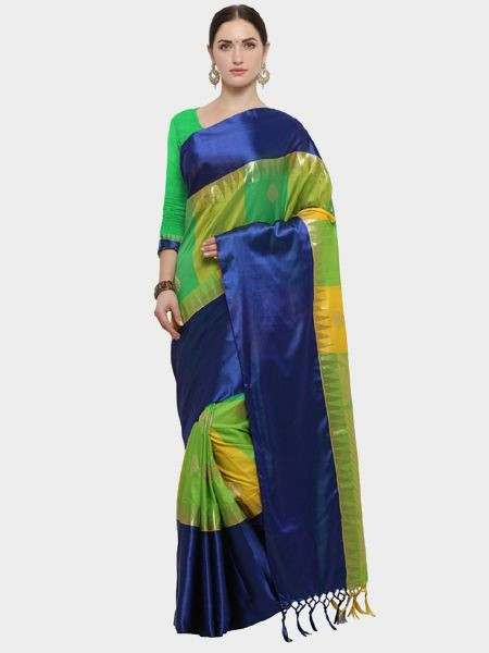Designer Navy Blue Cotton Silk Saree