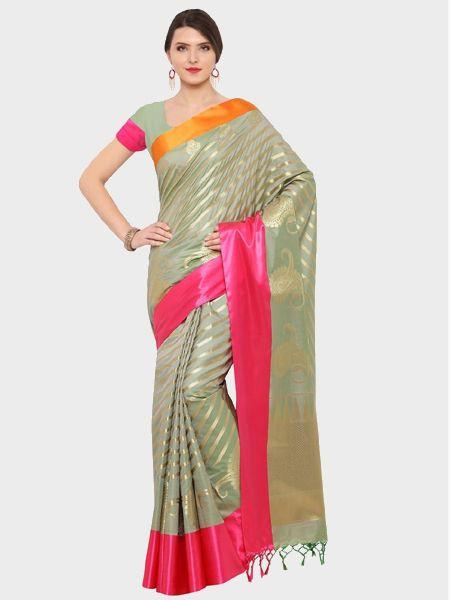 Designer Pastel Green Cotton Silk Saree