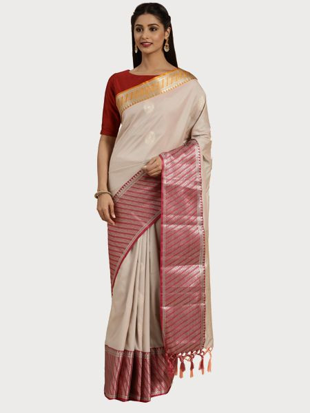 Designer Cream Cotton Silk Saree