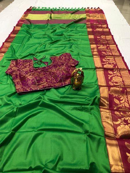 Designer Green Cotton Silk Saree