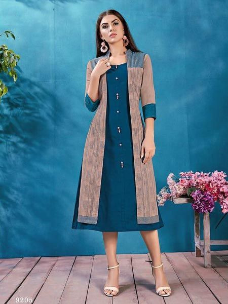 Purchase Ladies Plain Blue Cotton Kurti With Long Jacket for Girls Online @ YOYO Fashion