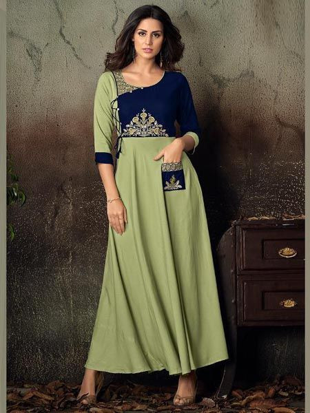 Latest Parrot Green Rayon Kurti