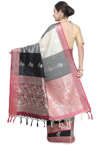 Designer Black Cotton Silk Saree