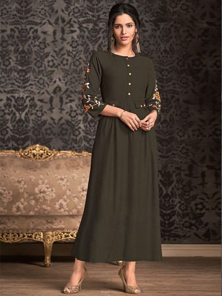 Stylish Mehandi Rayon Kurti - YOYO Fashion