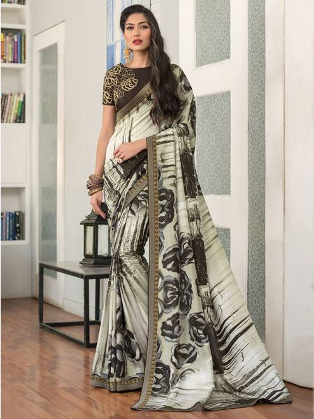 Designer Off White Silk Saree
