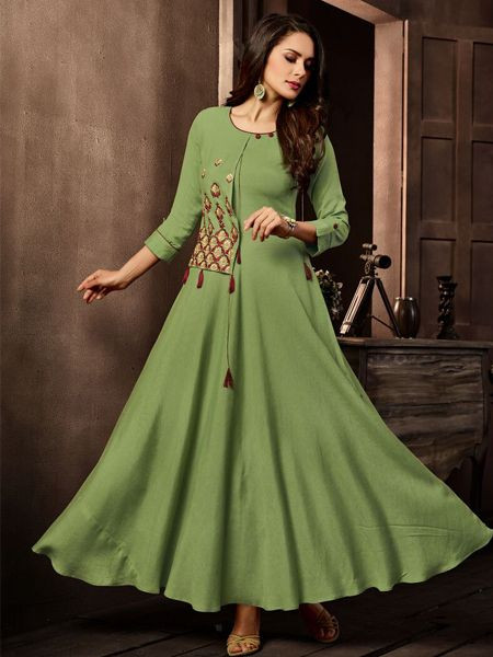 Ladies Green Cotton Kurti Design 2020