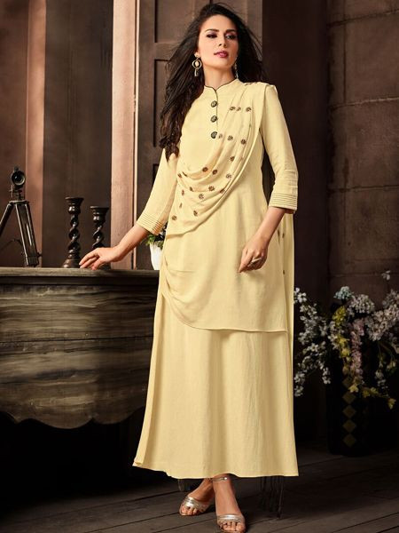 Stylish Beige Cotton Kurti - YOYO Fashion
