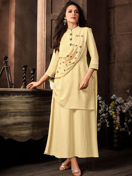 Beige Color Cotton Long Kurti Dress