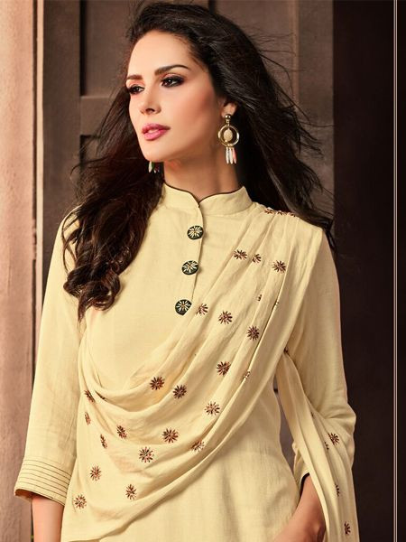 Stylish Beige Cotton Kurti