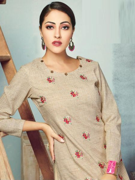 Beige Colour Skirt with Long Kurti Design 2020