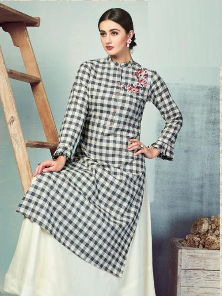 Black and White Checked Long Kurti with Skirt Design