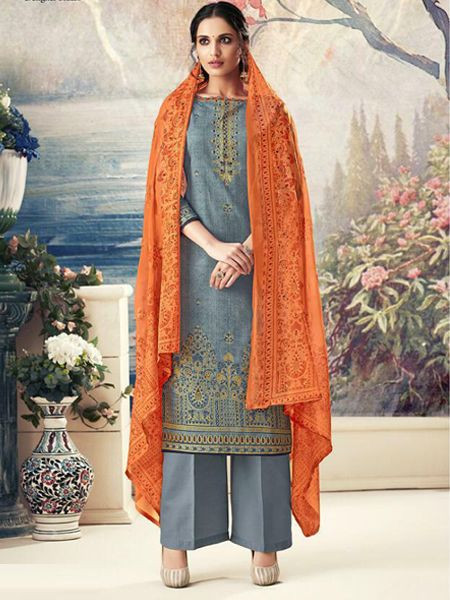 Designer Grey Cotton Salwar Suit - YOYO Fashion