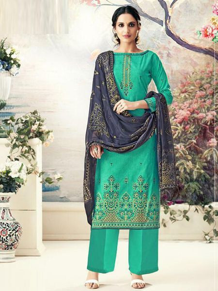 Designer Green Cotton Salwar Suit - YOYO Fashion
