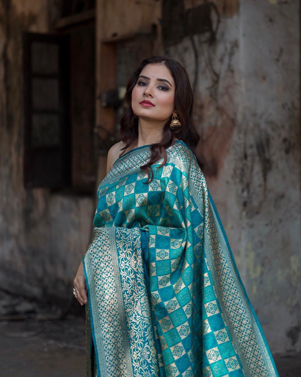 Shop Blue Hand Woven Banarasi Silk Saree