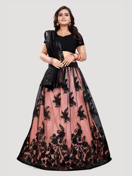 Shop Designer Embroidered Net Black Lehenga Choli Design 2019 For Women - YOYO Fashion