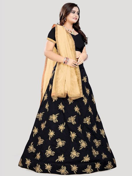 Shop Black Silk Lehenga Choli Design For Women