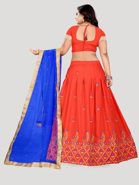 Shop Satin Red Lehenga Choli Back Side Design For Women